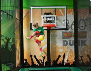 trampoline basketball slam dunk
